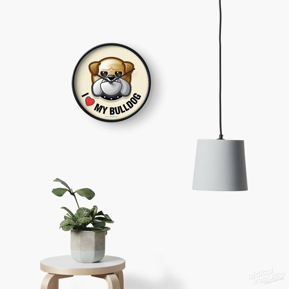 I Love My Bulldog - Clock
