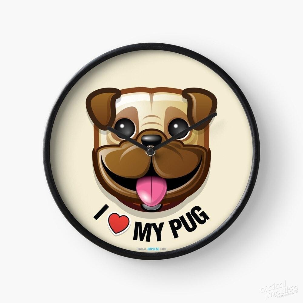 I Love My Pug - Clock
