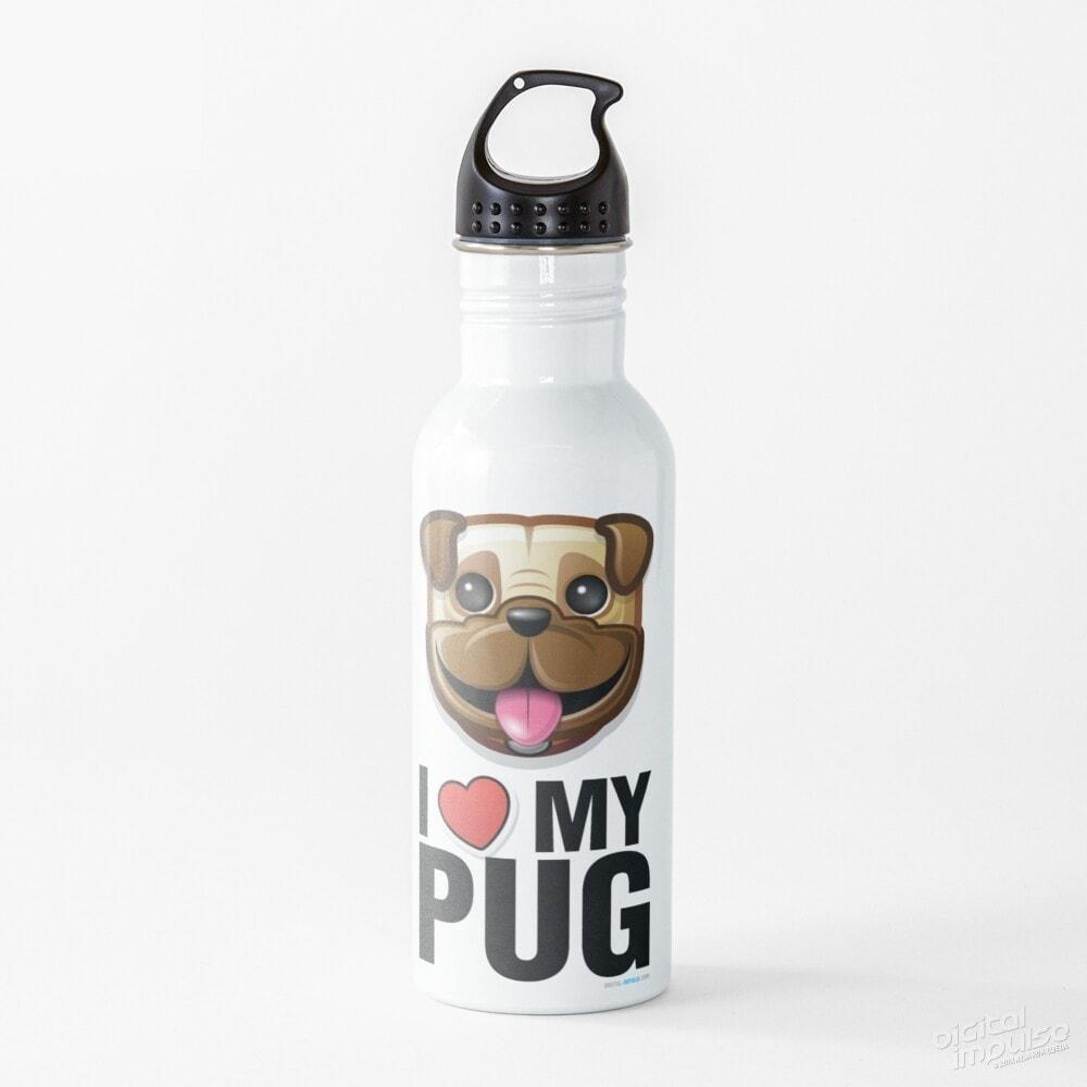 I Love My Pug - Water Bottle
